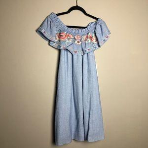 NWT! THML Stitchfix embroidered off shoulder dress